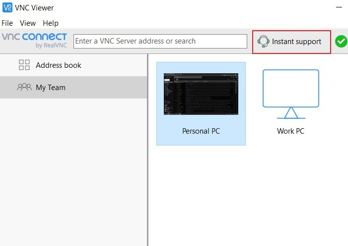 VNC Connect Instant Support connect