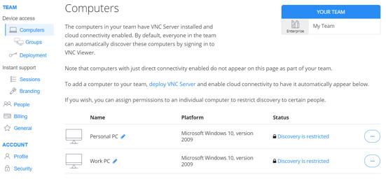 VNC Connect teams online account