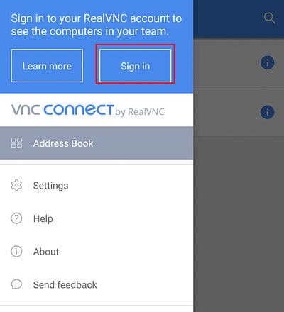 VNC Viewer for Android sign in